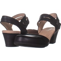 CLARKS Valarie Rally Mary Jane Pumps 934, Black Leather, 6.5 US - $27.83