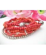 Red Silver Beaded Bracelet Set Boho - $10.11
