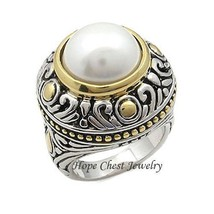 WOMEN'S TWO TONE ANTIQUE INSPIRED BIG WHITE PEARL FASHION RING SIZE 7 - $18.22