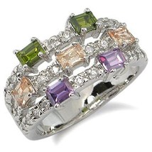 WOMEN'S SILVER TONE MULTIPLE COLOR CUBIC ZIRCONIA FASHION RING SIZE 5 (l... - $16.46