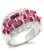 Women's Silver Tone Pink & White Cubic Zirconia Ring - SIZE 6 (LAST ONE) - $22.04