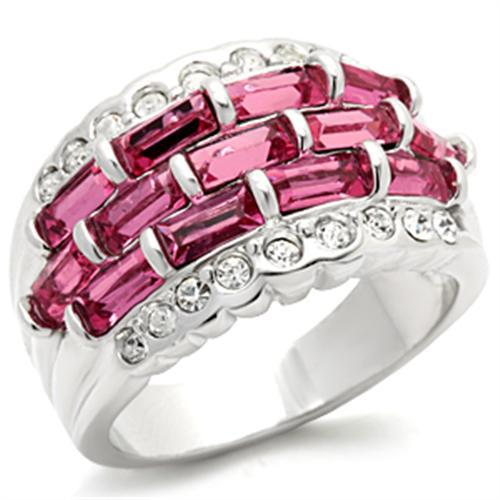 Women's Silver Tone Pink & White Cubic Zirconia Ring - SIZE 6 (LAST ONE)