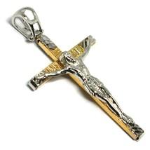 Pendentif Croix or Jaune Blanc 18k, Christ, Carrée, Pendentif, Righettata image 2