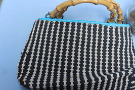 Black and white Crochetlike purse with wood handles by Liz Claiborne - $14.85