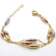 Bracelet Yellow Gold Pink White 18k 750, Triples Inserted Ovals Worked - $822.17