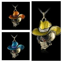 Skeleton Skull With Cowboy Hat Necklace, Halloween Pendant - $5.99