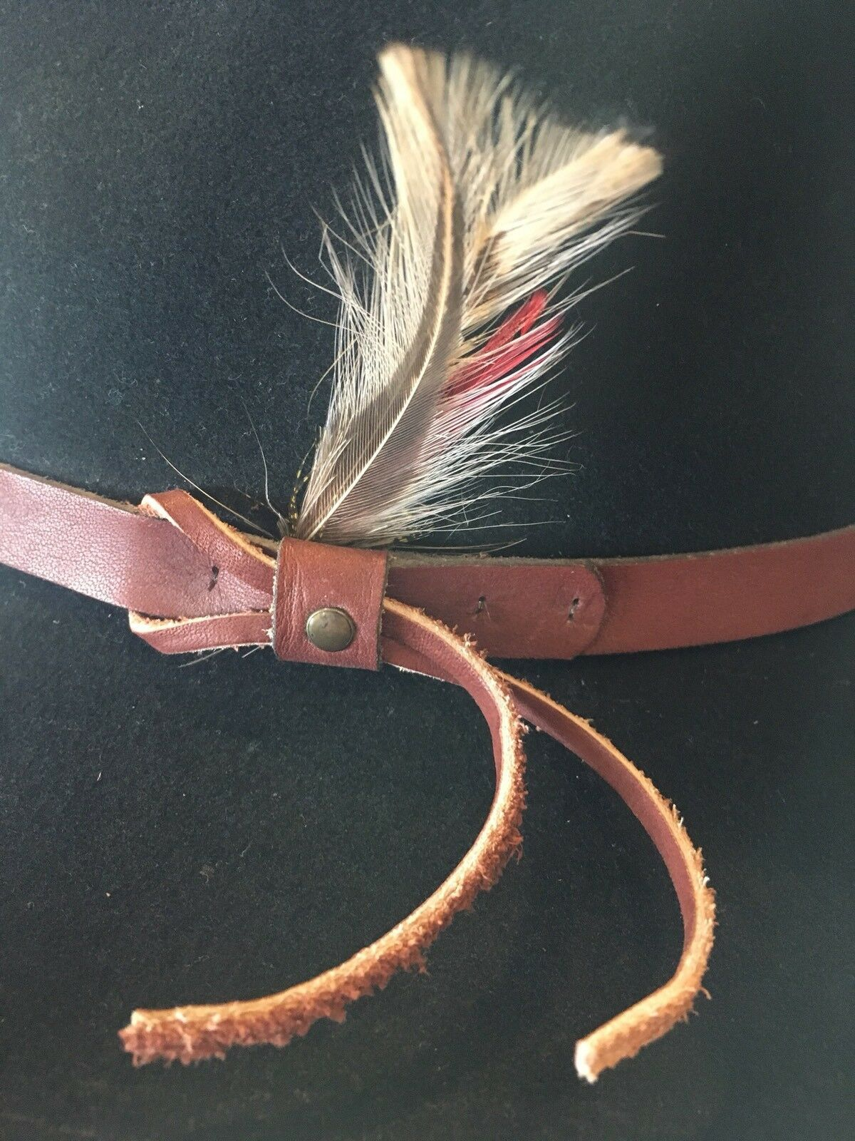 DORFMAN PACIFIC Fedora Black Wool Felt Velvet Hat Feather Sz M Brush Made USA image 8