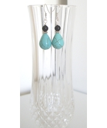 Teardrop Turquoise Earrings with Onyx Accent - $8.50