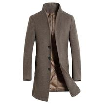 Men Wool Coat Slim Fit Long Jackets warm Wind breaker Overcoat Winter Wo... - $697.82+