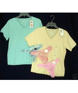 New lot CHARTER CLUB 2 Sleep Shirt Teeshirt Top 3 Thong Panties S - $23.00