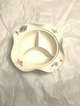 Round Compote Dish Handles Floral China Divided Relish Bowl Gold Trim - $4.90