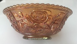"Imperial Open Rose Pumpkin Marigold Carnival Glass Flared 7.5"" Bowl  - $34.65"