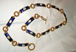 vintage Gucci navy white enamel gold tone logo toggle link belt 1970's signed 31 - $405.00