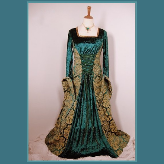 Renaissance Victorian Medieval Flare Sleeve Deep Teal Gold Jacquard Lace Up