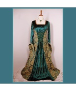 Renaissance Victorian Medieval Flare Sleeve Deep Teal Gold Jacquard Lace Up - $142.95