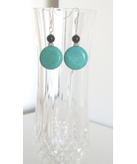 Coin Turquoise Earrings with Onyx Accent - $8.50