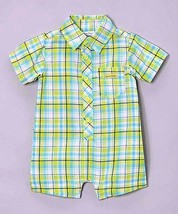 Calvin Klein Baby Boy White Green Plaid Infant Romper MSRP $32.99 SAVE $13 - $19.99