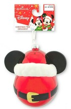 Hallmark Disney Micky Mouse Santa Hat Blown Glass Ball Christmas Ornamen... - $9.99