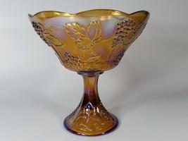 Vintage Indiana Glass Golden Harvest Grapes & Leaves Carnival Glass Comp... - $29.69