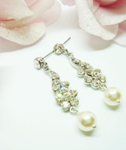Flower Chandelier Swarovski Pearl Earrings - $25.00+