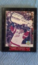 8B47 Sergei Federov '02 Red Wings Stanley Cup Photo on Marbled Wood Plaque VGC - $66.77