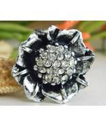 Vintage Silver Black Flower Brooch Pin Rhinestones Figural - $18.95