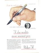 1946 Parker 51 Fountain Pen Lauritz Melchior print ad - $10.00