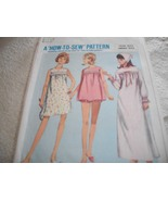 Teens' & Juniors' Long or Short Nightgown, Pjs & Scarf Pattern Simplicit... - $7.00