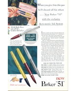 1950 Parker 51 Aero Metric Ink System Pen print ad - $10.00
