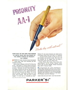 1945 Parker 51 Fountain Pen Priority AA-1 print ad - $10.00