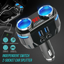 12V 2 Way Car Cigarette Lighter Socket Splitter Dual USB Charger Power A... - $33.00