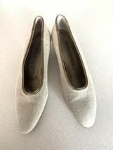 Yves Saint Laurent YSL Tweed Leather Trim Almond Toe Classic Pumps Shoes 7M - $89.09