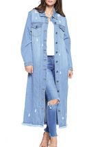 Women's Oversize Long Button Up Distressed Cotton Denim Classic  Jean Jacket image 4