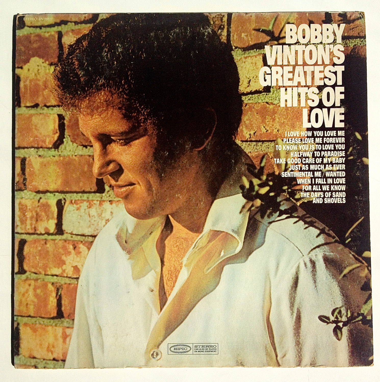 Bobby Vinton - Bobby Vinton's Greatest Hits of Love LP Vinyl Record Album, Epic,