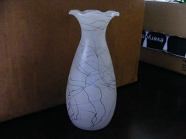 Frosted Vase with Black Swirls - $8.90