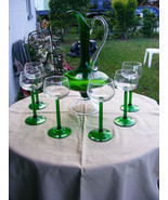 Vintage Handblown Green/Clear Glass Pitcher with Matching Glasses - £29.06 GBP
