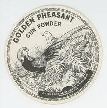 Golden Pheasant Gun Powder Du Pont can tin label advertising vintage spo... - $22.00