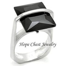 WOMEN'S STERLING SILVER STEP CUT BLACK CZ COCKTAIL FASHION RING - SIZE 8 - $22.27