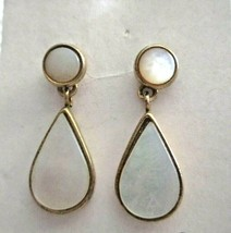 "Vintage MOP 3 in 1 Dangle Button Gold Tone 1""  Post Earrings - $19.79"