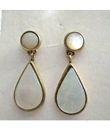 "Vintage MOP 3 in 1 Dangle Button Gold Tone 1""  Post Earrings - $19.79"