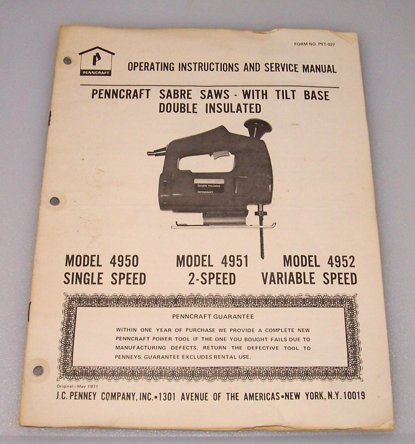 Penncraft Sabre Saw Owners Manual Models And 50 Similar Items