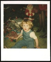 Christmas Morning Polaroid Photo Plastic Santa Claus Curly Top Boy Presents - $12.99