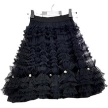 Black Knee Length Layered Tulle Skirt Plus Princess Tulle Skirt Holiday Outfit image 5
