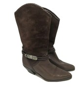 Via Spiga Ladies Boots Made Italy Brown Suede + Leather Cowboy Western 6.5 - $18.69