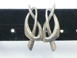 Vintage NAPIER Silver Tone Pretzel KNOT Clip Back Earrings Retro Modern ... - $18.99