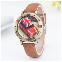 Round Taxi British Watches Roman Numerals Frame Coffee Leather Vintage E... - $6.99