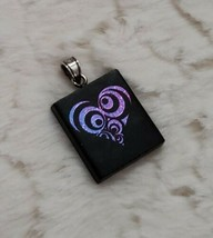 Dichroic Glass Heart Pendant Iridescent Blue Purple Pink Black Artisan P... - $13.86
