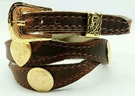 NEW Brown HATBAND Scalloped Leather w GOLD Round + Heart CONCHOS Cowboy Hat Band - $20.84