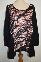 New Lane Bryant Top Asymmetrical Long Sleeve Black Patterned Cotton Shirt 18/20 - $19.62