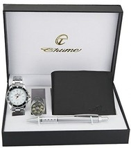 Gift Set Men's Watch White - LED Lamp LED - Wallet -Pen - £45.86 GBP